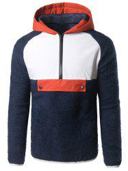 Contrast Trim Half Zip Up Plush Hoodie