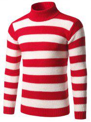 Turtleneck Striped Texture Sweater