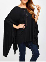 Scoop Neck Asymmetric Cape T-Shirt