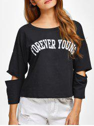 Cut Out Forever Young T-Shirt - BLACK 2XL