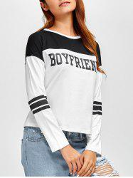Round Neck Boyfriend Graphic Color Block T-Shirt