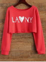 Round Collar Letter Cropped Sweatshirt