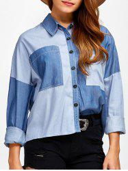 Color Block Pockets Patched Denim Shirt