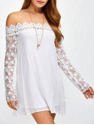 Off The Shoulder Crochet Spliced Tunic Dress -