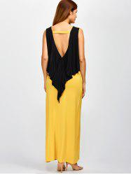 Back Low Cut Spliced Color Block Maxi Dress