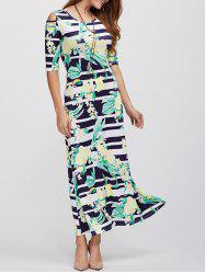 Cold Shoulder Long Striped Print Maxi Dress