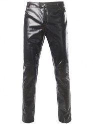 Zipper Cuff Straight Leg Metallic Pants