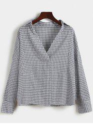 Pullover Drop Shoulder Gingham Shirt