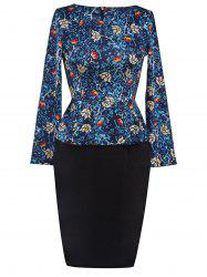 Printed Long Sleeve Pencil Peplum Office Dress - CADETBLUE
