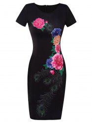 Printed Floral Fitted Bodycon Dress - BLACK 2XL