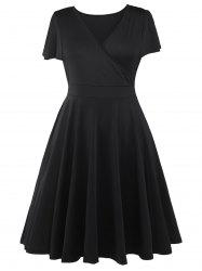 Plus Size Surplice Casual Midi A Line Dress With Short Sleeve