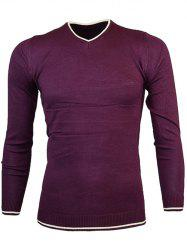 V Neck Color Block Pullover Knitwear -