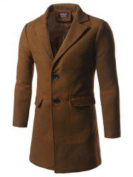 Notch Lapel Back Vent Woolen Two Button Coat
