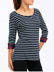 Striped Cuffed Slimming T-Shirt
