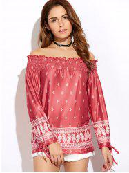 Off The Shoulder Printed Peasant Top - RED XL