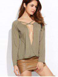 Deep V Neck Long Sleeve Crossover Top