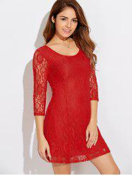 Scoop Neck Three Quarter Sleeve Lace Dress - JACINTH
