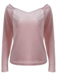 V Neck Long Sleeve Slimming T-Shirt - PINK 2XL