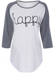 Color Block Happy Print T Shirt