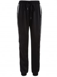 Drawstring Striped Gym Jogger Pants - BLACK