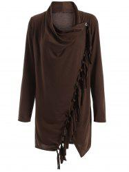 Long Sleeve Tassels Side Button Cape