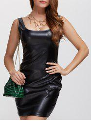 Faux Leather Bodycon Tank Bandage Dress - BLACK XL