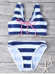 Lace Up Striped Bikini Set