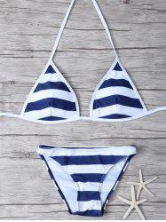 Stringy Striped Halter Bikini Set