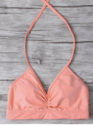 Shirred Halter Swim Top with Pad -