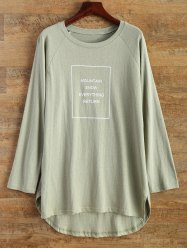 High Low Round Neck Graphic T-Shirt -