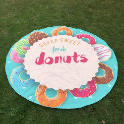 Merry Delicious Donuts Print Round Beach Throw -