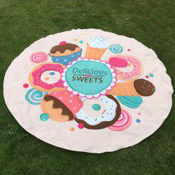 Merry Delicious Sweets Cake Donut Print Round Beach Throw - OFF-WHITE