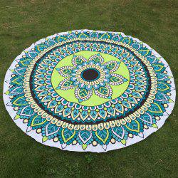 Flower and Leaf Print Round Beach Throw - GREEN ONE SIZE