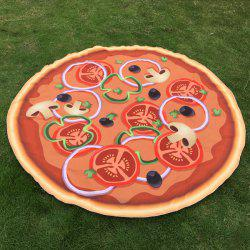 Christmas Tomato Pizza Print Round Beach Throw