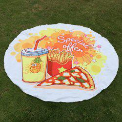 Christmas Fries Pizza Print Print Round Beach Throw