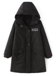 Quilted Winter Hooded Parka Coat - BLACK XL