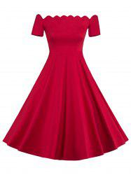 Off The Shoulder Vintage Party Skater Dress - RED L