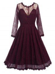 Swing Lace Full Sleeve Skater Homecoming Formal Dress with Sleeves - WINE RED 2XL
