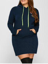 Plus Size Front Pocket Hoodie Dress