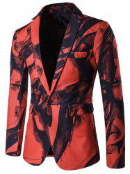 Lapel Wash Painting One Button Blazer - RED 3XL