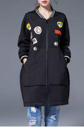 Applique Coat with Pocket -