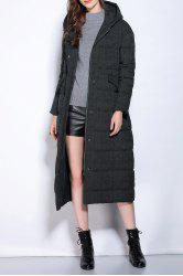 Hooded Zipper Fly Buttoned Long Down Coat