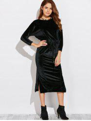 Three Quarter Sleeve Slit Midi Velvet Blouson Dress
