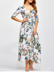 Plunging Neck Long Printed Shirred Maxi Dress