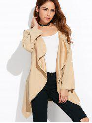 Drape Front Rolled Sleeve Coat - LIGHT KHAKI