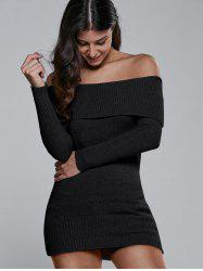 Off The Shoulder Fitted Mini Sweater Dress - BLACK