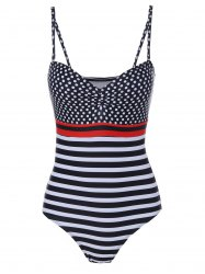 Women's Trendy Spaghetti Strap Polka Dot Striped One Piece Swimwear - COLORMIX L