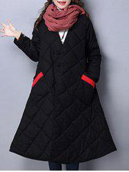 V Neck Loose Winter Padded Coat Jacket - BLACK