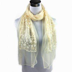 Outdoor Wintersweet Embroidery Lace Scarf - BEIGE