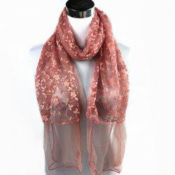 Outdoor Wintersweet Embroidery Lace Scarf - NUDE PINK